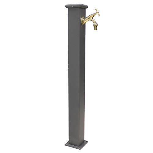 Fontana a colonna in acciaio con rubinetto 303 in ottone lucido per esterno casa giardino modello olimpia colore grigio ghisa