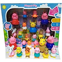 Xygzag Pig Family Toy, Set of 14 with Pig Family and Friends, Animated Toys for Children for Pretend Play (Set of 14)