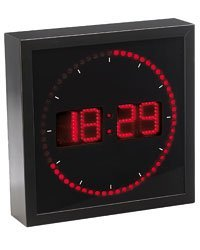 Lunartec Grande Horloge Murale LED Rouge avec indications des Heures, Minutes et Secondes Très Lumineuse et adaptée à des Studios, locaux, Salons