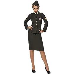 Smiffy'S 35335S Disfraz De Oficial De Guerra, Falda Chaqueta Con Medalla, Pechera De Camisa Corbata Y Gorra, Verde, S - Eu Tamaño 36-38