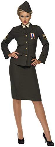Smiffys Damen Kriegszeit Offizier Kostüm, Rock, Jacke mit Orden, Hemdfront, Schlips und Mütze, Größe: S, 35335