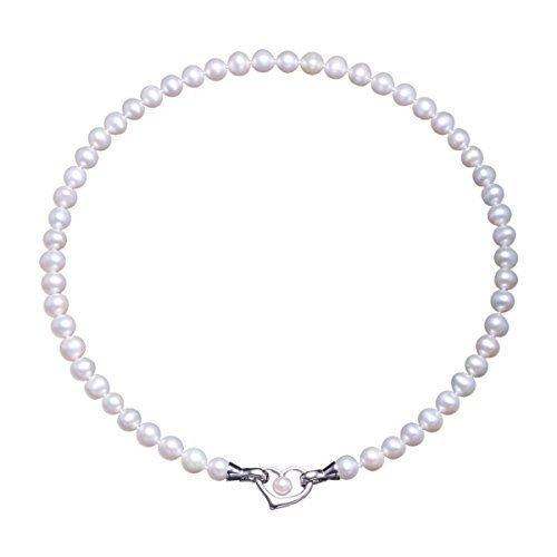 Damen Kette Hochzeitstag Perlenkette Perlen Halskette mama Geschenkideen in 3 Tragevarianten mit 7-8mm Süßwasserzuchtperlen und Sterling silber 925
