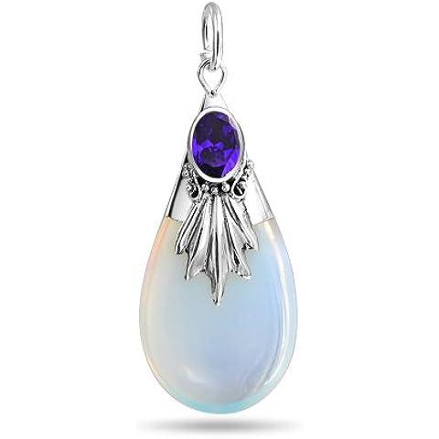 Bling Jewelry Pendente della collana Opalite Glass Sterling Silver Amethyst Colore CZ