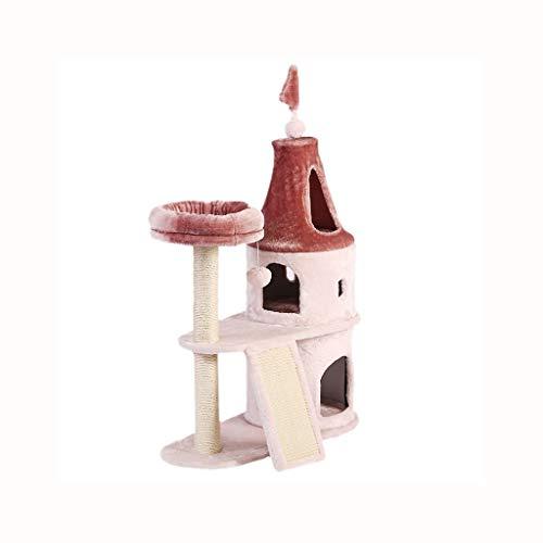 Schlossklingengrossatzenkatzekatzestreu-Katzenbaumhaus eines Rahmens der Katze rosa ein Massivholz-Sisal (Farbe : Rosa)