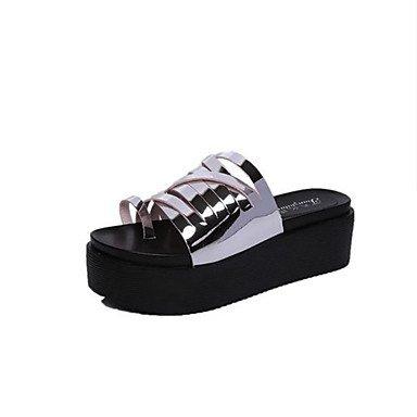 LvYuan Sandali-Casual-Comoda-Piatto-PU (Poliuretano)-Nero Bianco Argento Grigio scuro Black