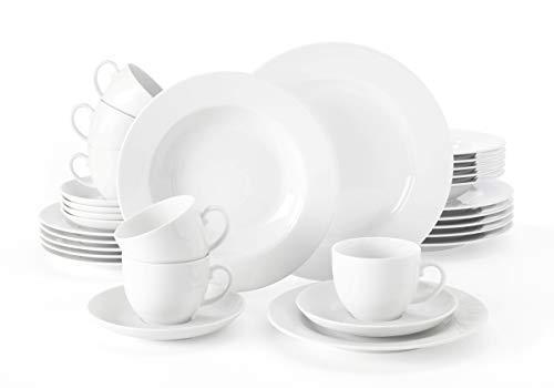 Seltmann Weiden Kombiservice 30-teilig weiß   Set für bis zu 6 Personen   Serie Rondo   beinhaltet je 6 Speiseteller, Suppenteller, Frühstücksteller, Kaffeeober- und Untertassen