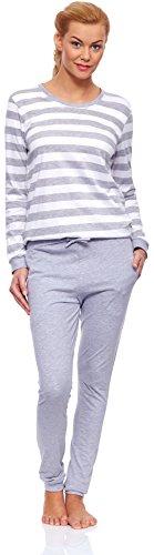 Cornette Damen Schlafanzug Molly Weiß/Melange