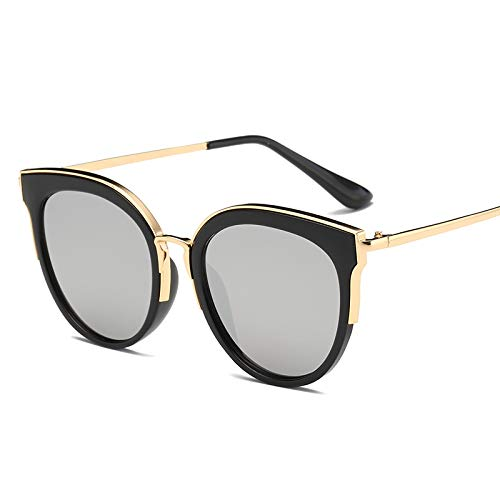 Wenquan,Trendy stilvolle Bunte Linsen Sonnenbrillen für die Dame(Color:SCHWARZ + Mercury)