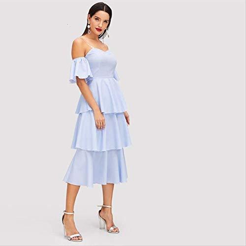 XGDLYQ Blau Schatzausschnitt Tiered Layered Rüschen Saum Hohe Taille Kleid Herbst Frauen Halbe Hülse Feste Arabische Kleider XS Blau
