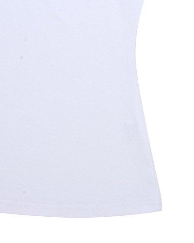 StyleDome Donna Canotta Camicetta Maglietta Manica Lunga Blusa Tops Collare In Piedi Ufficio Blanco
