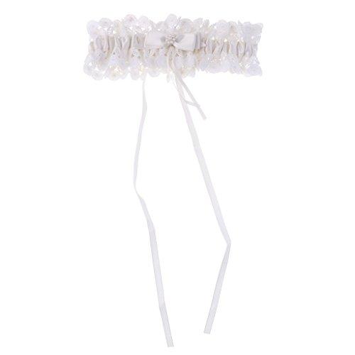 Sharplace elegante da sposa pizzo in raso con strass perline giarrettiera accessori - bianco, avorio, 17*5cm