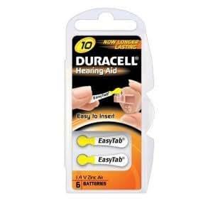 Duracell ZA10B6 piles pour aides auditives Taille 10 Lot de 6