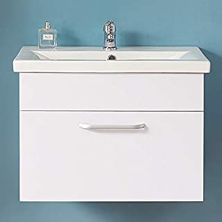 Aica 600mm Bathroom Vanity Unit Basin Storage Wall Hung Sink Drawer Cabinet White Furniture
