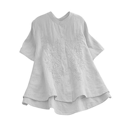 Produp Frauen Casual Plus Size Tops Stickerei Einfarbig Kurzarm Hemd Vintage Taste Lose Bluse Shirt Tie Neck Silk Dress