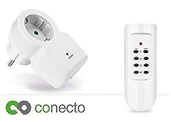conecto Funksteckdosenset mit Fernbedienung Komplett Set Funkschalter für Innenbereich 1x Funksteckdose + 1x Fernbedienung (4-Kanal, bis 30m, 1100 Watt, Kindersicherung, geprüfte Sicherheit) weiß