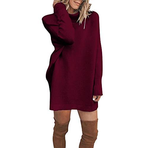 URSING Damen Pullover Kleid Frauen Winter Einfarbig Langarm Gestrickt Pullover Kleid O-Ausschnitt Stretch Strickkleid Pullikleid Longshirt...