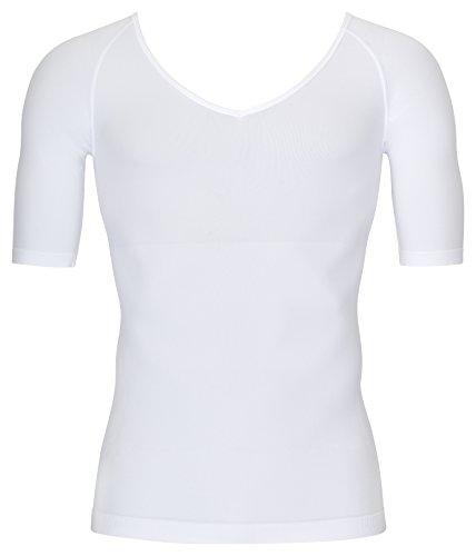 Figurformendes Herren Kompressions- /Shapewear T-Shirt mit V-Neck, weiss in XL