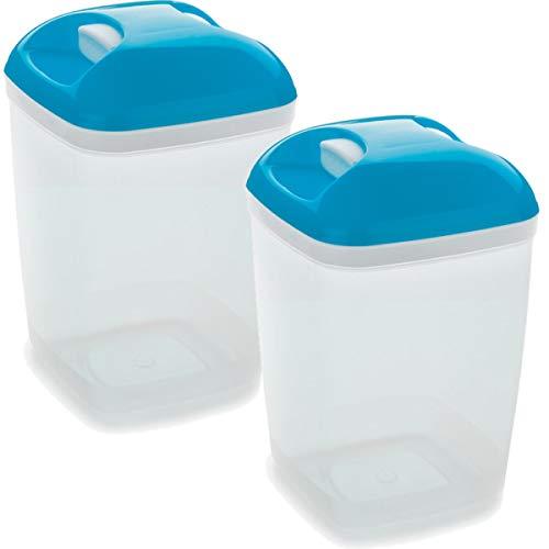 Set de 2 Coupelles hermeticos carrés avec couvercle bleu de 1,2 litres - BPA Free.