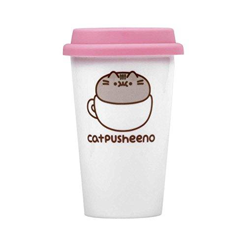 Close Up Pusheen Travel Mug Catpusheeno - weiß/pink, Bedruckt, aus Keramik, Fassungsvermögen ca. 275 ml. -