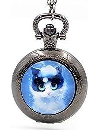 Reloj de bolsillo vintage con diseño de gato azul, hecho a mano, collar y