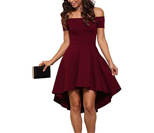 Splento Verano de Las Mujeres Damas Elegante Sexy Fuera del Hombro Delgado Vestido Corto Slash Cuello una línea de Vestido asimétrico Rojo S