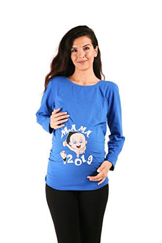 Mama 2019 - Witzige süße Umstandsmode T-Shirt mit Motiv Schwangerschaft, Langarm (Dunkelblau, Small)