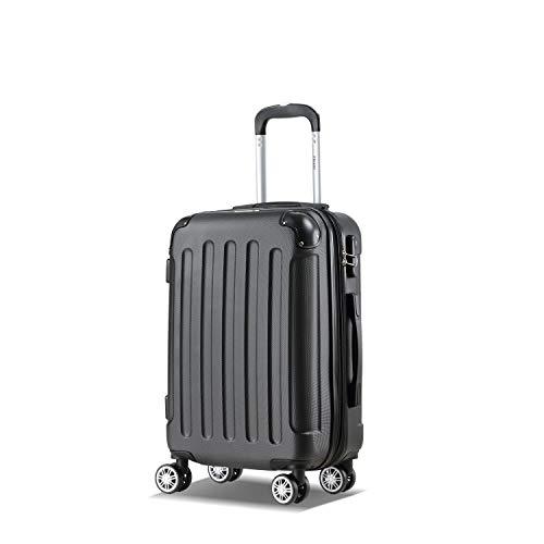 Flexot 2045 Handgepäck Koffer (Bordcase) - Farbe Schwarz Größe M Hartschalen-Koffer Trolley Rollkoffer Reisekoffer Handgepäck 4 Rollen