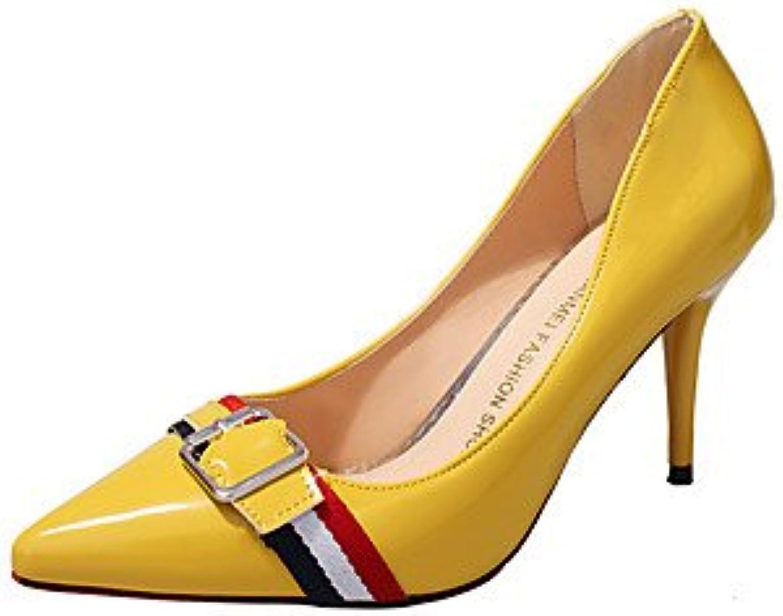 les talons rtry confort ol ol ol style correspond à printemps automne partie & amp; robe d e soirée boucle de talon aiguille en jaune...b074shz21x mère d5b711