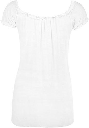 WearAll - Tunique extensible à manches courtes - Hauts - Femmes - Grandes tailles 40 à 58 Blanc