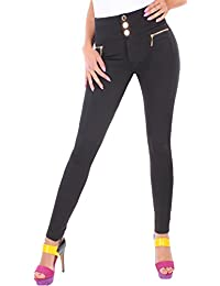 BD High Waist Damen Hose Jeggings Leggings in schwarz mit Zierzippern