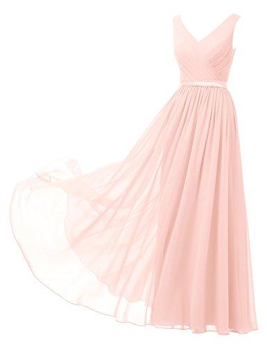 Alicepub A-Linie Chiffon Brautjungfernkleider Abendkleider Lang Ärmellos Ballkleider, Perle Rosa, 40