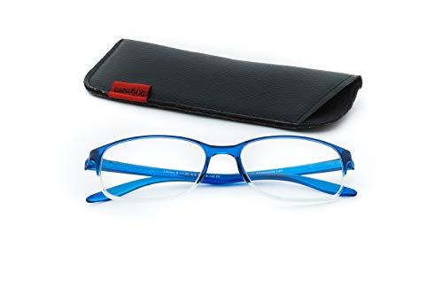 Dr.Harmann's Rectangular Reading Glasses (Blue) (Library 8 +1.25)