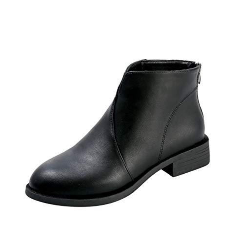 ┃BYEEEt┃ Stivaletti Donna Autunno Bassi Stivali Piatto Invernali Pelle Chelsea Ankle Boots Tacco a Blocco 5cm Slip On Scarpe Eleganti Nero Marrone Cachi 35-43 EU