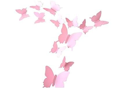 Hosaire 12 Pieces 3D PVC Light Butterfly Stickrs Fashion Design DIY Wall Decoration House Decoration Babyroom Decoration