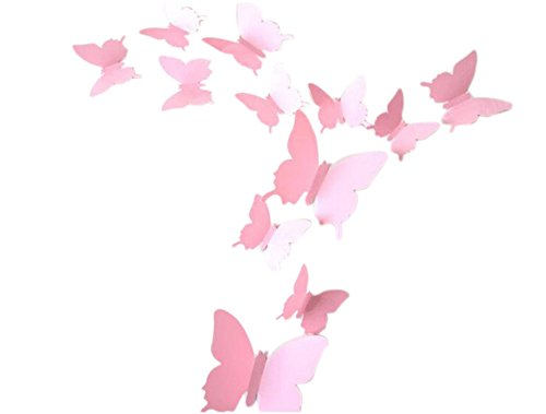 Hosaire 12 Stücke Aufkleber 3D PVC Schmetterling-Wandsticker DIY Wand-Dekoration Babyroom Dekoration(Rosa) (Schmetterling Rosa Stück Applique 2)