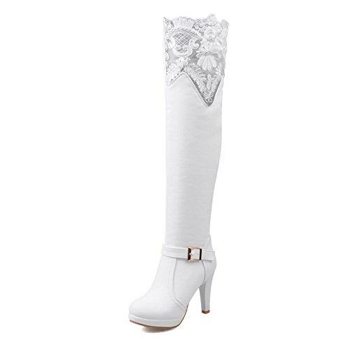 AgooLar Damen Reißverschluss Rund Zehe Blockabsatz Pu Leder Hoch-Spitze Stiefel mit Lesbie Weiß