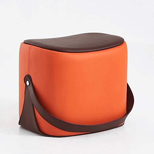 Sofa Hocker Persönlichkeit Kind Massivholz Hocker Wohnzimmer Schuhe Bank PU Leder Dressing Stuhl Block Erwachsene Couchtisch Sitz (Color : Orange) ()