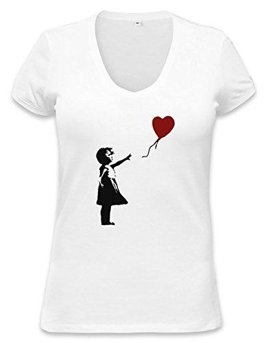 Banksy Balloon Girl Womens V-neck T-shirt Medium