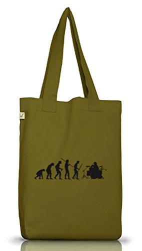 Shirtstreet24, EVOLUTION DRUMMER,Schlagzeuger Drum Kit Jutebeutel Stoff Tasche Earth Positive Leaf Green