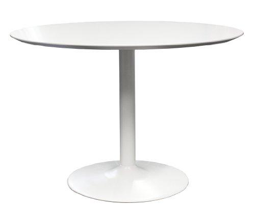 TENZO 3218-001 TEQUILA Designer Table ronde Panneaux MDF/Acier Blanc 110 x 110 x 74,5 cm