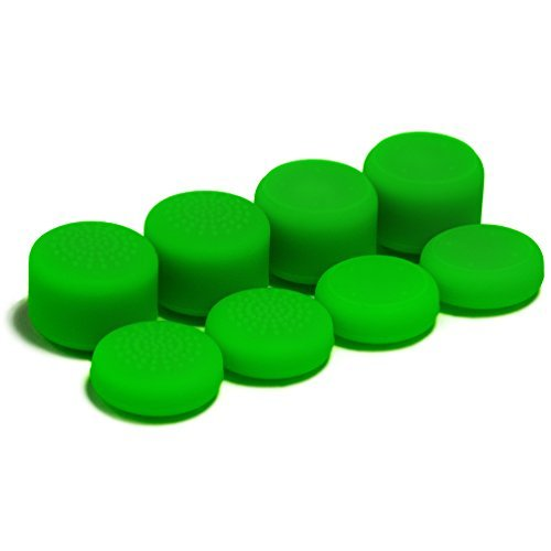 AceShot Thumb Grips (8pc) for Xbox One by Foamy Lizard ® Sweat Free 100% Silicone Precision Platform Raised Anti-slip Rubber Analog Stick Grips For Xbox One Controller (8 grips per order) GREEN 31YAZRwBvRL