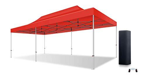 ACTIEXPRESS Tente Pliante Barnum Pliant Tonnelle Professionnelle 4X8 Structure en Aluminium 50mm Toit 520g/m² PVC M2 qualité professionelle Plus (Rouge)