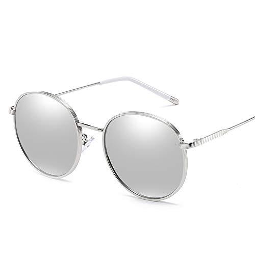 Metall Round Frame Womens Sonnenbrille Retro Polarized Fashion Classic UV-Schutz Driving Glasses Brille (Color : Silber, Size : Kostenlos)