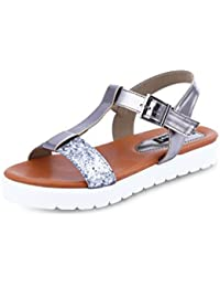 GET GLAMR Women's Grey Sandals (Get (Get-1625) - 5 UK