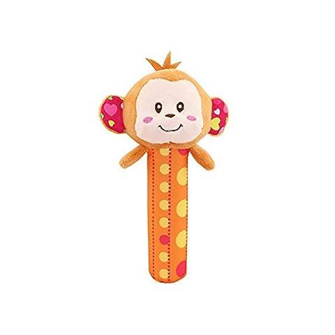 Animal Hand Rattle Soft Plush Stick Infant Dolls Musical Developmental Toy Monkey