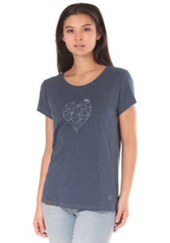 Lakeville Mountain Damen T-Shirt NUBA mit Herz Aufdruck | Tailliertes Kurzarm Oberteil mit Rundhals-Ausschnitt | Frauen Sommer Print Bluse Tunika Tops | Bering Sea Melange Dunkelblau Marineblau M