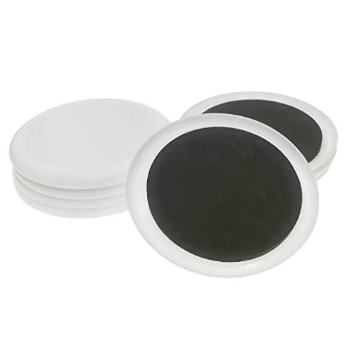 8 Stü Wiederverwendbare Kunststoff Schwere Möbel Sliders Teppich - Weiße Runde 8cm -