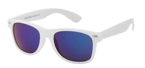Sonnenbrille Nerdbrille retro Artikel 4026-32, weiß / blau verspiegelt
