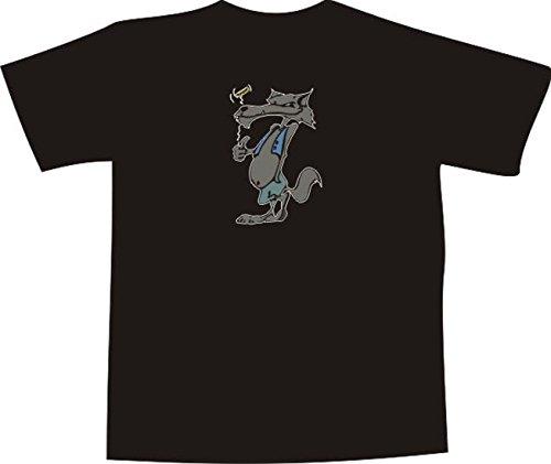 T-Shirt E823 Schönes T-Shirt mit farbigem Brustaufdruck Farbe nach Wahl XXL - Logo / Grafik - Comic Design - grinsender Wolf mit Golfschläger (T-shir Wolf)
