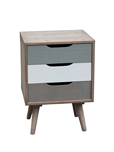 Table de chevet Scandi taupe et gris blanc 48 X 35 X 66 cm